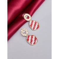 Golden and Red Printed Dangle Earrings