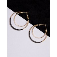Golden and Black Layered Hoop Earrings