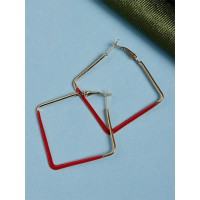 Golden and Red Geometrical Earrings