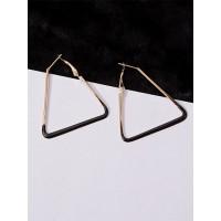 Golden and Black Geometrical Hoop Earrings