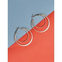 Golden and White Layered Hoop Earrings