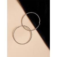 Patterned Silver Hoop Earrings
