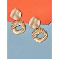 Textured Golden Dangle Earrings