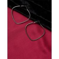 Grey Heart Hoop Earrings