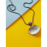 Silver Contemporary Pendant Necklace