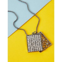 Silver Studded Contemporary Pendant Necklace