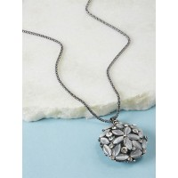 Silver Studded Flower Pendant Necklace