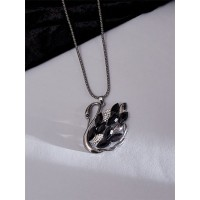 Silver and Black Duck Necklace