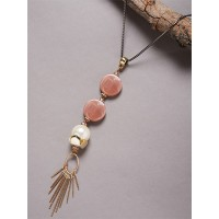 Pink and Off-White Beads Contemporary Necklace