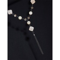 Off White Beads Contemporary Necklace