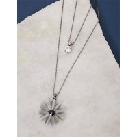 Silver Layered Floral Necklace