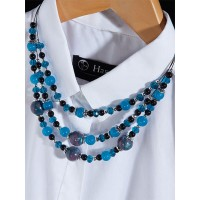 Layered Blue and Black Contemporary Necklace
