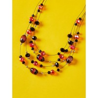 Layered Red-Toned Crystal Bead Necklace