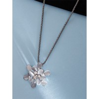 Floral Silver Necklace