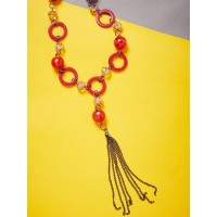 Red Rings and Crystal Beads Contemporary Necklace