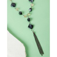 Navy Blue Beads Contemporary Necklace