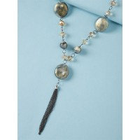 Shades Of Silver Beads Contemporary Necklace