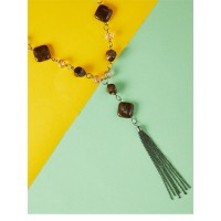 Brown Beads Contemporary Necklace