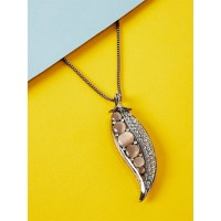 Silver Studded Leaf Contemporary Necklace