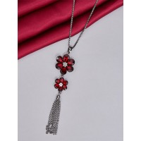 Red and Silver Flower Necklace