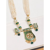 Green Kundan and Pearl Pendant Necklace Set