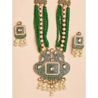Green Peacock Kundan Pendant Necklace Set