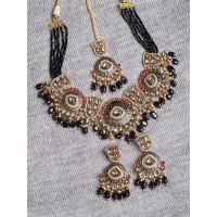 Black and Golden Statement Kundan Necklace Set