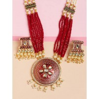 Red Kundan Pendant Necklace Set