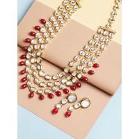 Layered Kundan Necklace Set With Maroon Beads