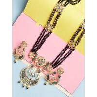 Floral Black Kundan Necklace Set
