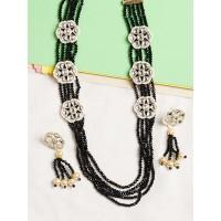 Black Beaded Kundan Necklace Set