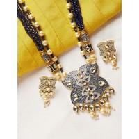 Blue and Golden Kundan Pendant Necklace Set