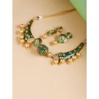 Green Kundan and Meena Studded Choker Necklace Set