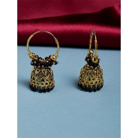 Golden and Blue Bali Jhumka Earrings