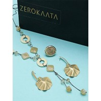 Set of Golden and Brown Contemporary Necklace, Earrings and Ring