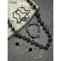 Set of Beaded Necklace, Bracelets and Geometrical Earrings