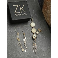 Set of Contemporary Necklace, Golden Earrings and Ring