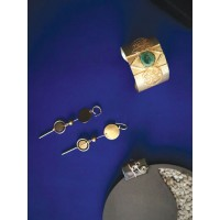 Set of Contemporary Earrings, Wrist Cuff and Ring