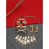 Set of Contemporary Choker Necklace, Cuffs and Earrings