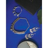 Set of Tribal Necklace, Long Earrings and Bracelet
