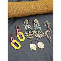 Set of Contemporary and Ethnic Earrings