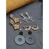 Set of Contemporary Earrings, Ethnic Earrings and American Diamond Earrings