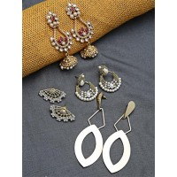 Set of Ethnic, American Diamond and  Contemporary Earrings