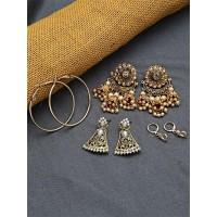 Set of Ethnic, American Diamond and  Hoop Earrings