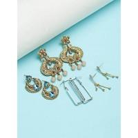 Set of Ethnic, Geometrical and American Diamond Earrings