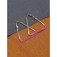 Golden and Pink Triangle Earrings