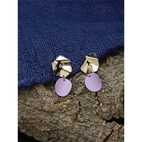 Golden and Purple Dangle Earrings