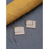 Golden and Brown Geometrical Dangle Earrings