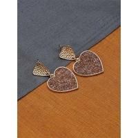 Short Golden and Brown Heart Earrings