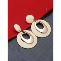 Golden and Cream Dangle Earrings